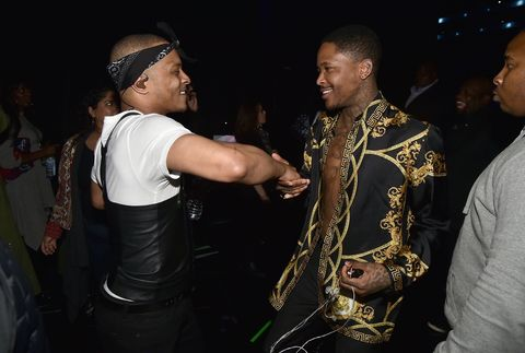 T.I. and YG backstage at the 32nd Annual Rock & Roll Hall Of Fame Induction Ceremony at Barclays Center.