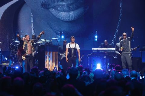 YG, T.I., and Snoop Dogg perform onstage at the 32nd Annual Rock & Roll Hall Of Fame Induction Ceremony at Barclays Center.