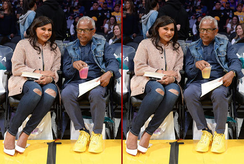 Can you spot the THREE differences in the Mindy Kaling with her father photos?