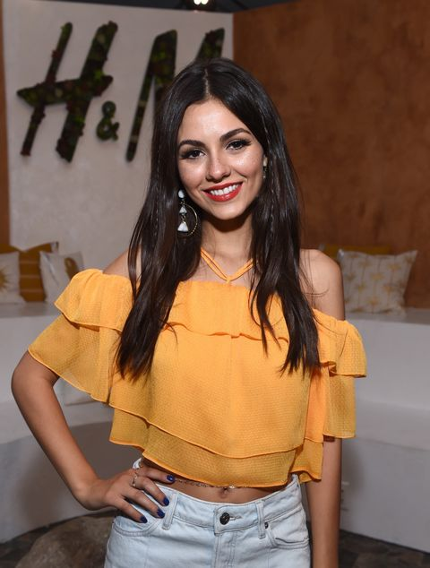 Actor Victoria Justice attends H&M Loves Coachella Tent during day 1 of the Coachella Valley Music & Arts Festival (Weekend 1) at the Empire Polo Club on April 14, 2017 in Indio, California.