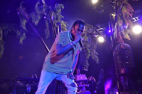 Travis Scott performs on the Outdoor Stage during day 1 of the Coachella Valley Music And Arts Festival (Weekend 1) at the Empire Polo Club on April 14, 2017 in Indio, California.