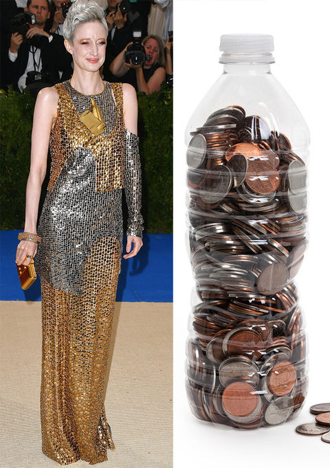 Andrea Riseborough and an empty water bottle filled with loose change