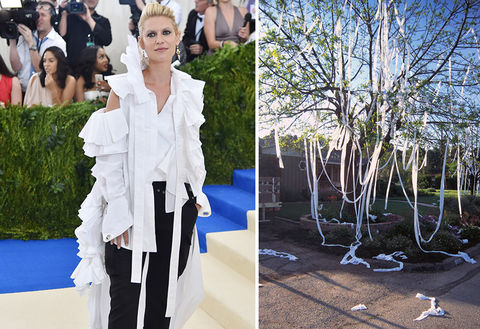 Claire Danes and a toilet papered tree