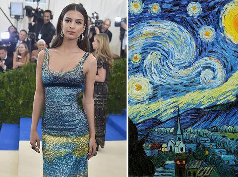 Emily Ratajkowski and Van Gogh's Starry Night