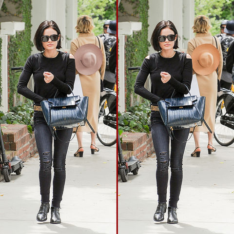 Can you spot the THREE differences in the Lucy Hale photos?