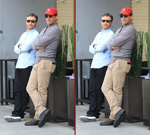 Can you spot the THREE differences in the Jon Hamm photos?