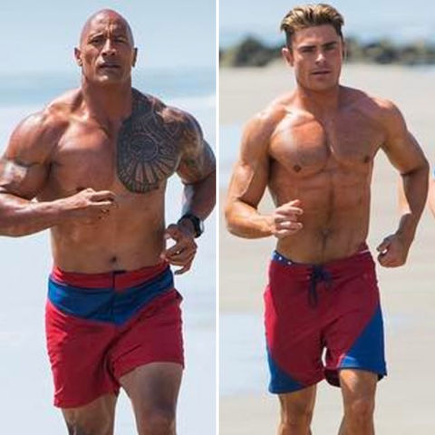 The Rock (45) vs. Zac Efron (29)  -- Baywatch Bod Edition