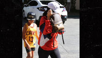 Mason Disick Wears Tristan Thompson's Jersey While Out With Mom, Kourtney