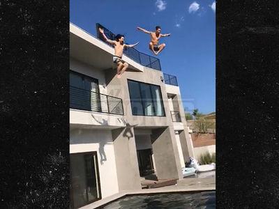 Shaun White and Steve Aoki Do Crazy Roof Jumps Into Aoki's Vegas Pool