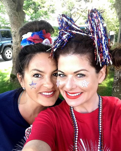 Debra Messing and Mariska Hargitay are spending this years 4th together decked out in Patriotic Gear