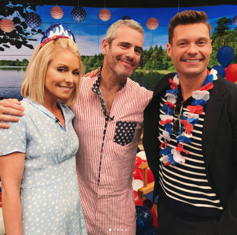 Kelly Ripa, Andy Cohen, and Ryan Seacrest took a break from filming their Independence Day show to snap this cute pic.
