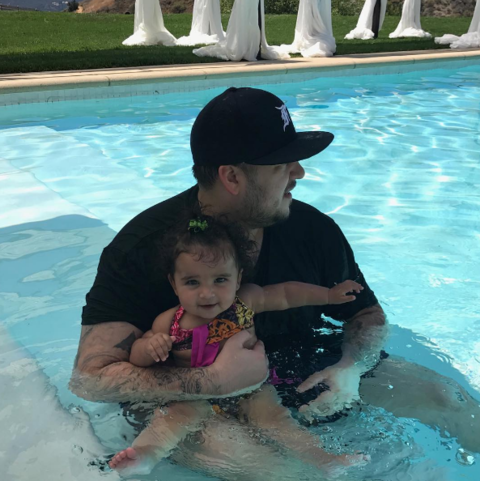 Rob and Dream Kardashian wished their fans a Happy Independence Day while poolside.