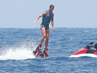 Cristiano Ronaldo Has Fun on Flyboard in Mediterranean Sea Near Ibiza with Girlfriend