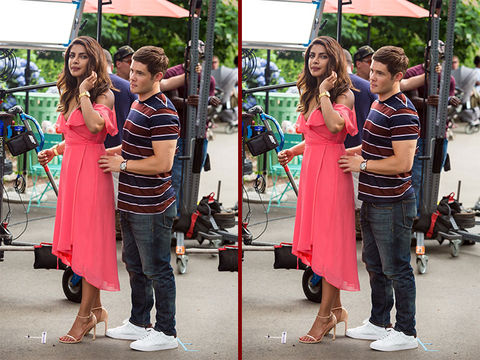Can you spot the THREE differences in the Priyanka Chopra and Adam Devine photos?