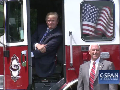 President Trump Enjoys Posing in Fire Truck 'Made in America'
