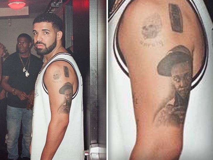 Drake Has Lil Waynes Face Tattooed On His Arm Tmzcom