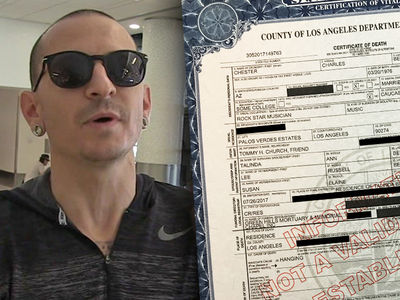 Chester Bennington's Death Certificate, Suicide by Hanging with a Belt