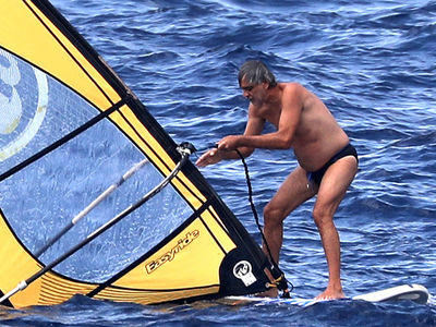 Andrea Bocelli Goes Windsurfing in Speedo on Vacation in Italy