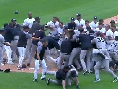 Miguel Cabrera Attacks Yankees Catcher, Bench Clearing Brawl Ensues!