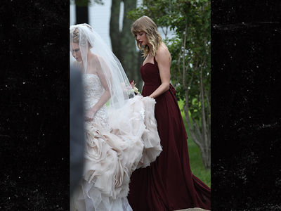 Taylor Swift Carries Back of Friend's Wedding Dress as Bridesmaid in Martha's Vineyard