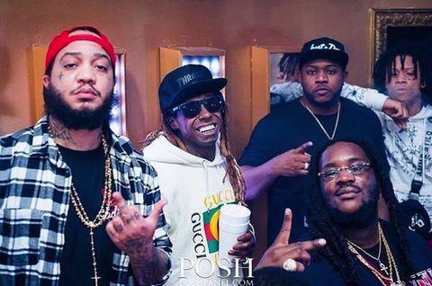 """Lil Wayne with the """"Mula Gang"""" Aug 5, 2017."""