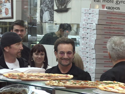 U2 Takes Over Famous Pizza Joint in NYC!!!