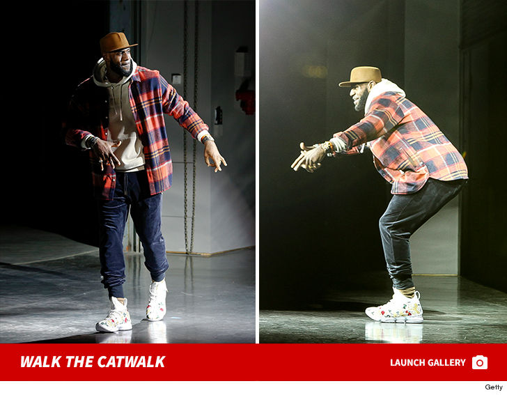 830ad9d91a62d LeBron James added another job to his resume -- RUNWAY MODEL. The NBA  superstar hit the catwalk for the Kith ...