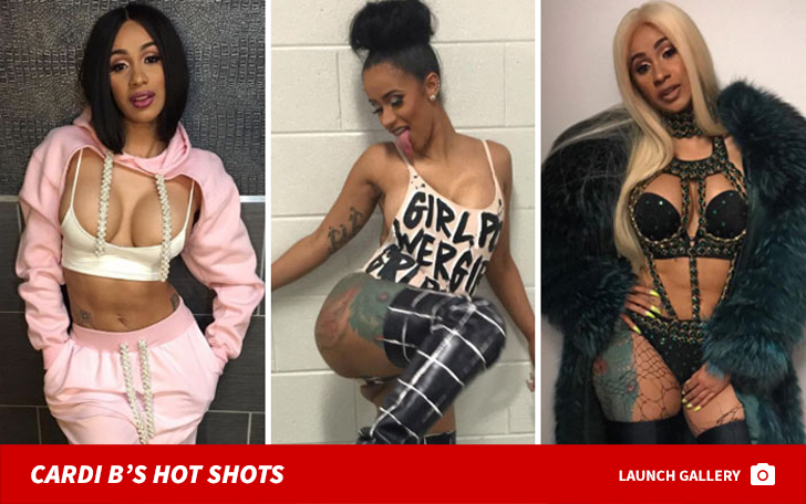 e8dac308339 Cardi B Shares Racy Lingerie Pic in Pink Wig on Private Jet