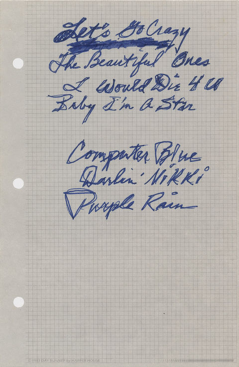 Prince's Purple Rain Nine-Page Handwritten Musical Enhancement Notes -- estimated price: $12,000
