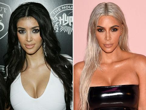 Kim Kardashian -- 2007 (left) and 2017 (right)