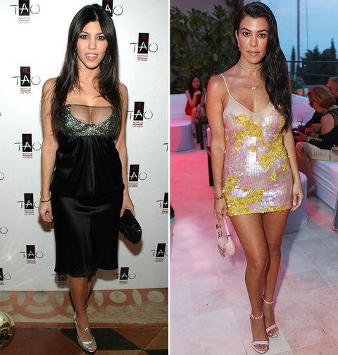 Kourtney Kardashian -- 2007 (left) and 2017 (right)
