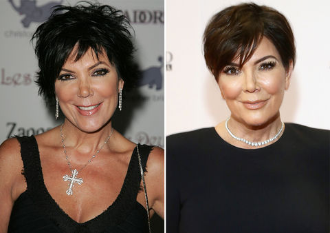 Kris Jenner -- 2007 (left) and 2017 (right)