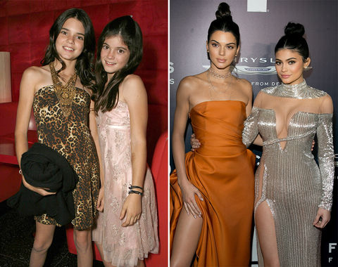 Kendall & Kylie Jenner -- 2007 (left) and 2017 (right)