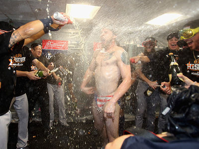 Astros' Josh Reddick Busts Out American Flag Speedo After Clinching ALCS Berth