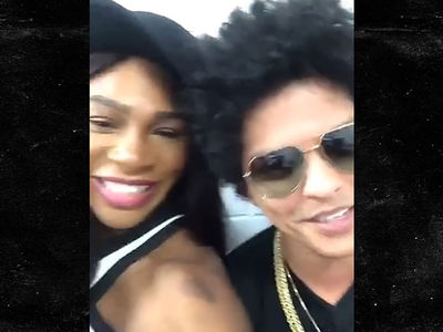 Serena Williams Chills with Bruno Mars Backstage, Mom's Night Out