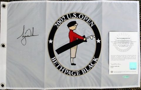 Tiger Woods Autographed Pin Flag from His 2002 US Open Win