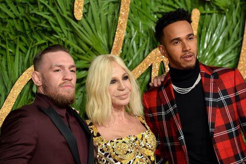 Lewis Hamilton, Donatella Versace & Conor McGregor