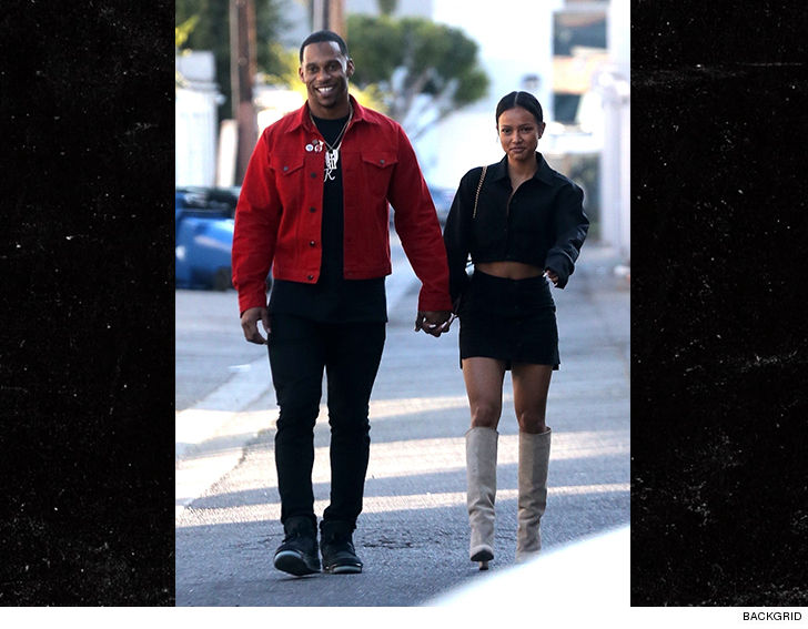 Karrueche Tran Spotted Holding Hands with Smiling NFL WR Victor Cruz
