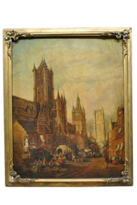 Antique Village Cathedral Painting -- estimated: $300 - $600