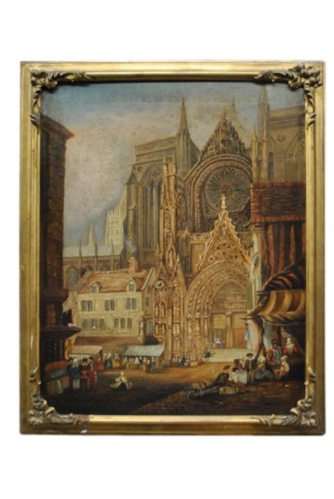 Antique Cathedral Painting -- estimated: $300 - $600