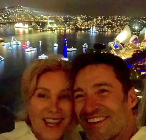 Hugh Jackman and wife on NYE in Sydney