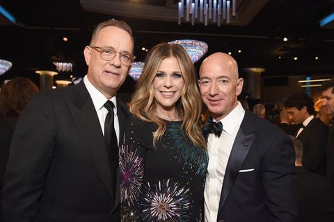 Tom Hanks, actor Rita Wilson and Chief Executive Officer of Amazon Jeff Bezos