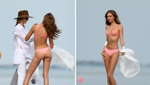 Victoria's Secret Angel Josephine Skriver Looks Fine in Pink Beach Lingerie