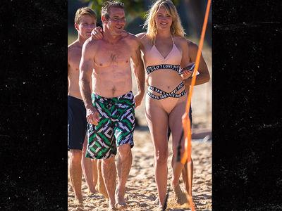 Dennis Quaid's Ripped Beach Date with Model GF Santa Auzina