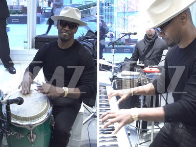 Jamie Foxx Pops in His Sunglasses Shop, Showcases His Many Talents
