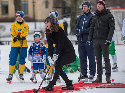 Prince William and Kate Middleton Play Swedish Hockey in Stockholm