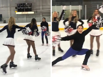 Nancy Kerrigan Joins Patriots Cheerleading Squad ... On Ice!!