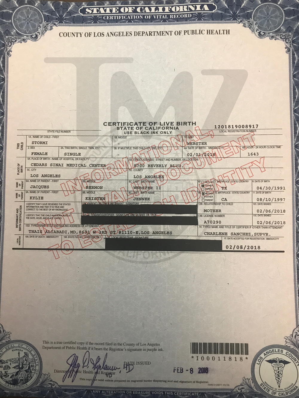 Stormi Websters Birth Certificate Released Tmz