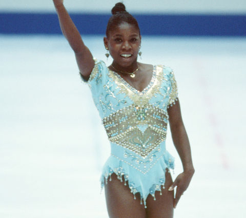 French figure skater Surya Bonaly is best known for busting out her signature backflips during competions including the 1998 Winter Olympics in Nagano, Japan (photographed above) which landed her in 10th place.