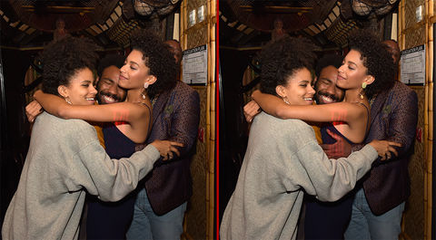 Can you spot the THREE differences in these Zazie Beetz, Donald Glover, and Stefani Robinson photos?